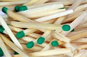 stock photo of sulfur tip  - Group of wooden matches with green heads - JPG