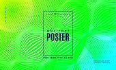 Wave Poster With Fluid Shapes. Gradient Abstract Background With Movement Of Wave Liquid Forms. Line poster
