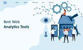 Best Web Analytics Tools. Mockup Landing Page Website Design. Modern Trend Flat Design Concept Of We poster