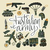Australian Army. Military And Army Flat Hand Drawn Card With Tank, Parachute, Helmet, Gas Mask, Airc poster