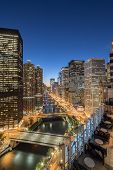 Aerial View Of Chicago Riverside Skylines At Evening poster