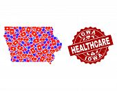 Healthcare Composition Of Bright Medical Mosaic Map Of Iowa State And Scratched Seal Stamp. Vector R poster