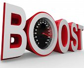 The word Boost with a speedometer in letter O measuring the speed of your improvement, faster pace,