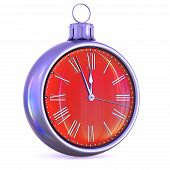 Clock Christmas Ball Midnight Time Pressure Countdown Red poster