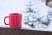 Cup With Coffee, Tea On The Background Of The Winter Landscape poster