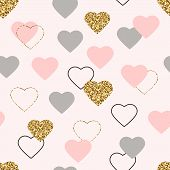 Heart Glitter Seamless Pattern. Valentines Day Background With Glittering Gold, Pink, Grey Hearts. G poster
