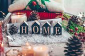 Concept Of Home And Comfort. Christmas Decor Warm Sweater, Candles, Led String Lights And Christmas  poster