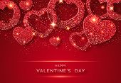 Valentines Day Horizontal Background With Shining Red Heart And Confetti. Holiday Card Illustration  poster