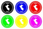 Peru - Rubber Stamp - Vector, Republic Of Peru Map Pattern - Sticker - Black, Blue, Green, Yellow, P poster