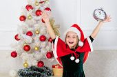 Girl Kid Santa Hat Costume With Clock Excited Happy Face Counting Time To New Year. Last Minute New  poster
