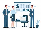 Business Presentation Illustration. Manager Man Presenting Marketing Report, Project Statistics In D poster