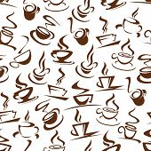 Hot Coffee Seamless Pattern Of Steaming Energetic Beverages. Cups On Saucer With Steam Silhouettes I poster