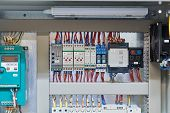 In The Electrical Cabinet Frequency Converter, Controller, Relay, Thermostat. Thermistor Relay, Temp poster