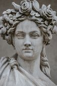Statue Of Sensual Busty And Puffy Renaissance Era Woman In Circlet Of Flowers, Potsdam, Germany, Det poster
