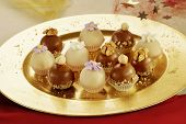 Delicious chocolate and marzipan balls