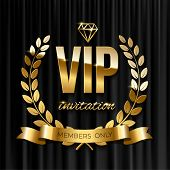 Golden Ribbon With Laurel Wreath And Vip Invitation Text On Black Curtain Background. Vector Vip Inv poster