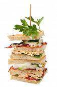 Sandwich quaters on a skewer (vegetable, roasted bacon, salami, chicken steak, boiler egg, lovage),