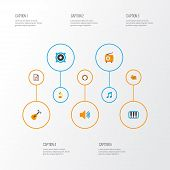 Audio Icons Flat Style Set With Gramophone, Voice, Samba And Other Tone Elements. Isolated  Illustra poster