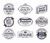 Vintage Company Logo Or Retro Brand Sign With Ribbons. Set Of Isolated Guarantee Stamp Or Quality Ce poster