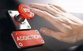 Woman Pressing A Panic Button With Stop Sign To Overcome Addiction Or Dependence Problems. Psycholog poster
