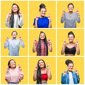 Collage of beautiful braided hair african american woman over yellow isolated background smiling cro poster