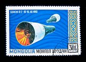 MONGOLIA - CIRCA 1965: A stamp printed in Mongolia shows the  spaceship Gemini, circa 1965.