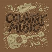 Country Music Festival Retro Poster Vector Template. Hand Drawn Lettering. Cowboy Fest Banner, Invit poster