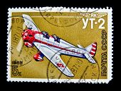 USSR -CIRCA 1986: A stamp shows image of UT-2 aeroplane, circa 1986.