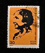 Índia - 1980: Um selo imprimido em shows de Índia Helen Keller, por volta de 1980