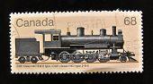 Canadá - por volta de 1988: Um selo impresso em mostra o Canadá velha locomotiva CGR classe H4D, por volta de 1988.