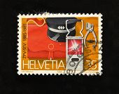HELVETIA (SWITZERLAND) - CIRCA 1985: A Stamp printed in the HELVETIA shows  harnesses railwayman, circa 1985.