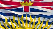 British Columbia Flag. Waving Flag Of British Columbia Province, Canada poster