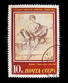 USSR - CIRCA 1987: Justice, an Engraving by Albrecht Durer, circa 1987. Series, 8 stamps