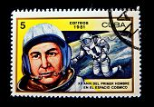 CUBA - CIRCA 1981: A stamp printed in the Cuba shows cosmonaut Alexey Leonov, circa 1981. Big space