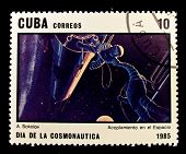 CUBA - CIRCA 1985: A stamp printed in the Cuba shows cosmonauts in open space, circa 1985. Big space