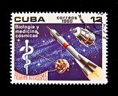 CUBA - CIRCA 1980: A stamp printed in the Cuba shows Space station for biological and medical experi
