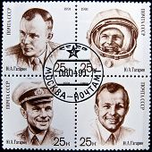USSR- CIRCA 1991: A stamp printed in the USSR shows shows cosmonaut Yuri Gagarin, one stamp from a s