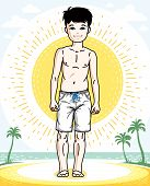 Little Boy Standing Wearing Fashionable Beach Shorts. Vector Attractive Kid Illustration. Fashion Th poster