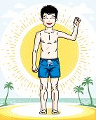 Beautiful Little Boy Cute Child Standing Wearing Fashionable Beach Shorts. Vector Human Illustration poster