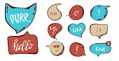 Hand Drawn Set Of Speech Bubbles With Hand Written Short Phrases Purr, Love You, Chat, Hello. Quotes poster