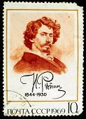 USSR - CIRCA 1969 : stamp printed in Russia, shows drawing portrait of artist Ilya Repin, USSR, circ