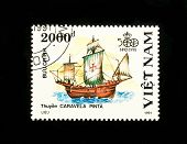 VIETNAM - CIRCA 1991: A stamp printed in Vietnam shows a sailboat