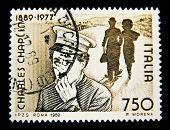 ITALIA - CIRCA 1989: Stamp printed in Italia with Charles Spenser Chaplin , circa 1989