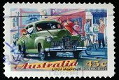 AUSTRALIA - CIRCA 1997: A stamp printed in Australia shows GMH Holden 48-125 FX 1948, circa 1997