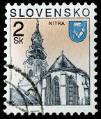 SLOVENIA - CIRCA 2000s: A stamp printed in Botswana shows Catholic cathedral in Nitra, circa 2000s
