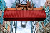 Industrial Crane Loading Containers In A Cargo Freight Ship. Container Ship In Import And Export Bus poster