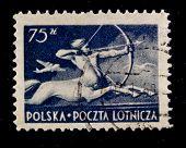 POLAND - CIRCA 1958: A stamp printed in Poland shows centaur, circa 1958