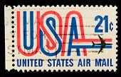 USA - CIRCA 1980-th: Stamp printed in USA shows Symbols of American airmail, circa 1980-th