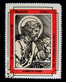 UGANDA - CIRCA 1993: A stamp printed in the Uganda shows fragment of an engraving by Albrecht Durer