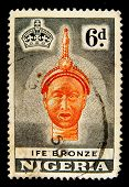 NIGERIA - CIRCA 1954: A stamp printed in Nigeria shows Ife bronze casting of a King, dated around 12